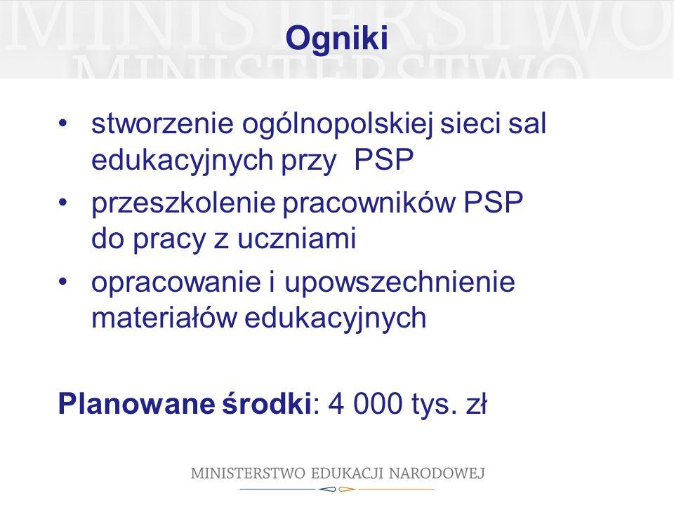 Ogniki stworzenie ogólnopolskiej sieci sal edukacyjnych przy PSP przeszkolenie pracowników PSP do pracy z uczniami opracowanie i upowszechnienie materiałów edukacyjnych Planowane środki: 4 000 tys.