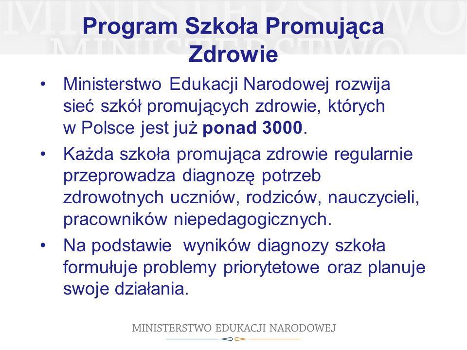 Program Szkoła Promująca Zdrowie Ministerstwo Edukacji Narodowej rozwija sieć szkół promujących zdrowie, których w Polsce jest już ponad 3000.