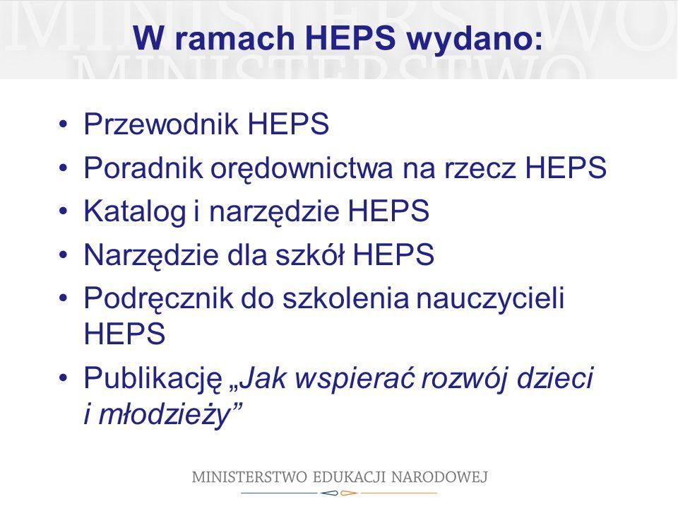 """W ramach HEPS wydano: Przewodnik HEPS Poradnik orędownictwa na rzecz HEPS Katalog i narzędzie HEPS Narzędzie dla szkół HEPS Podręcznik do szkolenia nauczycieli HEPS Publikację """"Jak wspierać rozwój dzieci i młodzieży"""