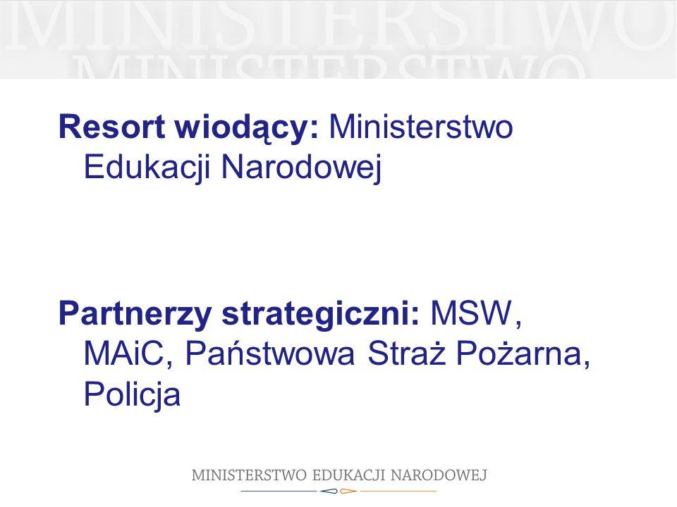 Resort wiodący: Ministerstwo Edukacji Narodowej Partnerzy strategiczni: MSW, MAiC, Państwowa Straż Pożarna, Policja