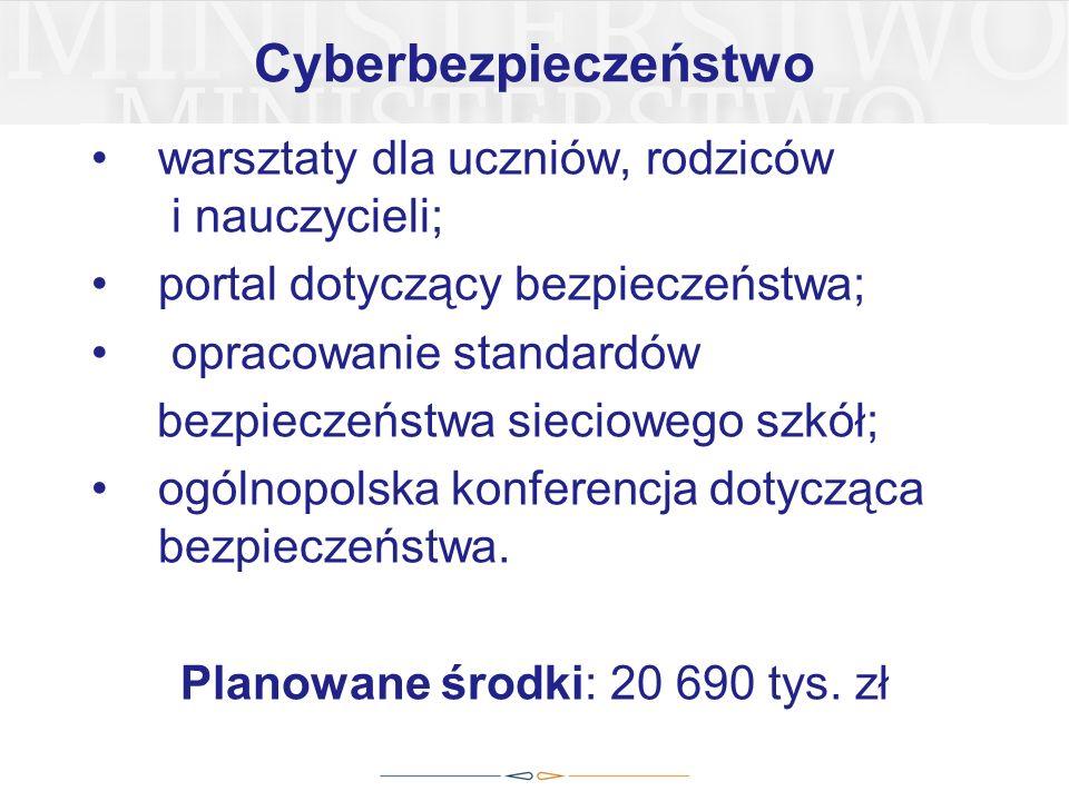 Cyberbezpieczeństwo warsztaty dla uczniów, rodziców i nauczycieli; portal dotyczący bezpieczeństwa; opracowanie standardów bezpieczeństwa sieciowego szkół; ogólnopolska konferencja dotycząca bezpieczeństwa.