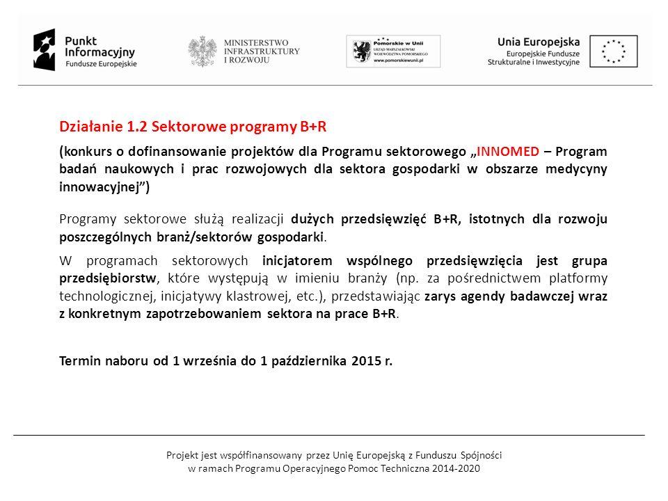 Projekt jest współfinansowany przez Unię Europejską z Funduszu Spójności w ramach Programu Operacyjnego Pomoc Techniczna 2014-2020 Działanie 1.2 Sekto