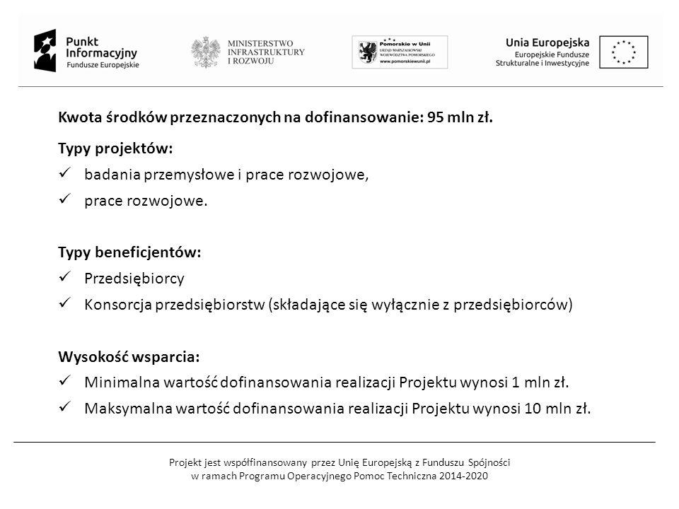 Projekt jest współfinansowany przez Unię Europejską z Funduszu Spójności w ramach Programu Operacyjnego Pomoc Techniczna 2014-2020 Kwota środków przez