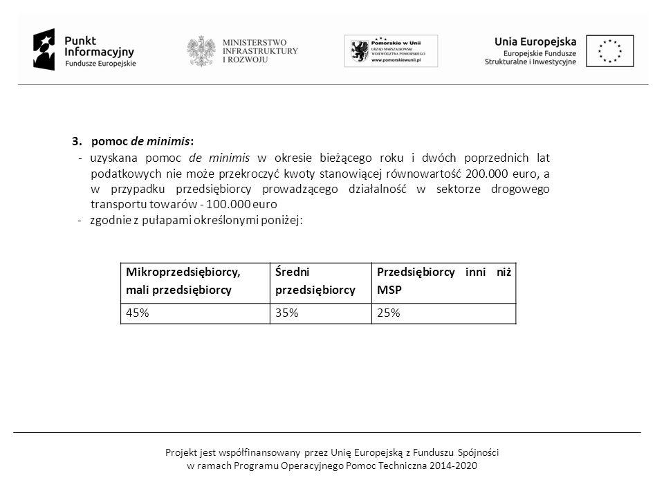 Projekt jest współfinansowany przez Unię Europejską z Funduszu Spójności w ramach Programu Operacyjnego Pomoc Techniczna 2014-2020 Koszty kwalifikowalne: Do kosztów kwalifikowanych w ramach regionalnej pomocy inwestycyjnej zalicza się koszty: 1)nabycia nieruchomości zabudowanych i niezabudowanych (w tym prawa użytkowania wieczystego), jeżeli spełniają łącznie następujące warunki: a)nieruchomość jest niezbędna do realizacji projektu, b)przedsiębiorca przedstawi opinię rzeczoznawcy majątkowego potwierdzającą, że cena nabycia nie przekracza wartości rynkowej nieruchomości określonej na dzień nabycia, c)nieruchomość będzie służyła wyłącznie realizacji projektu, zgodnie z przeznaczeniem określonym w umowie o dofinansowanie projektu, d)w przypadku nieruchomości zabudowanych przedsiębiorca dodatkowo przedstawi opinię rzeczoznawcy budowlanego potwierdzającą, że nieruchomość może być używana w określonym celu, zgodnym z celami projektu, lub określającą zakres niezbędnych zmian lub ulepszeń;
