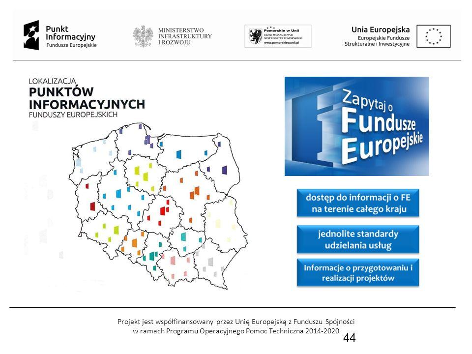 Projekt jest współfinansowany przez Unię Europejską z Funduszu Spójności w ramach Programu Operacyjnego Pomoc Techniczna 2014-2020 45 W związku z utworzeniem nowej Sieci Punktów Informacyjnych Funduszy Europejskich w województwie pomorskim, 2 stycznia br.