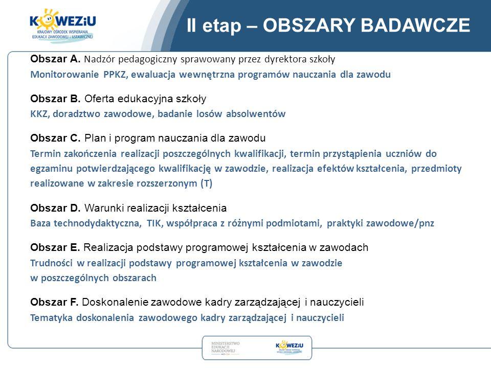 II etap – OBSZARY BADAWCZE Obszar A.