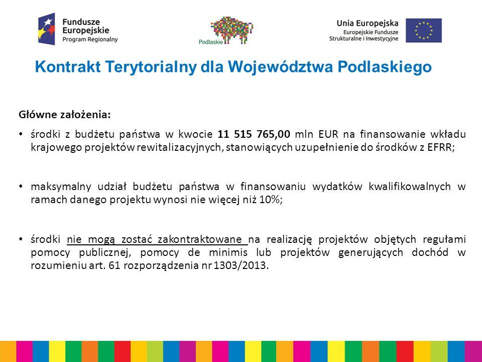 Kontrakt Terytorialny dla Województwa Podlaskiego Główne założenia: środki z budżetu państwa w kwocie 11 515 765,00 mln EUR na finansowanie wkładu krajowego projektów rewitalizacyjnych, stanowiących uzupełnienie do środków z EFRR; maksymalny udział budżetu państwa w finansowaniu wydatków kwalifikowalnych w ramach danego projektu wynosi nie więcej niż 10%; środki nie mogą zostać zakontraktowane na realizację projektów objętych regułami pomocy publicznej, pomocy de minimis lub projektów generujących dochód w rozumieniu art.