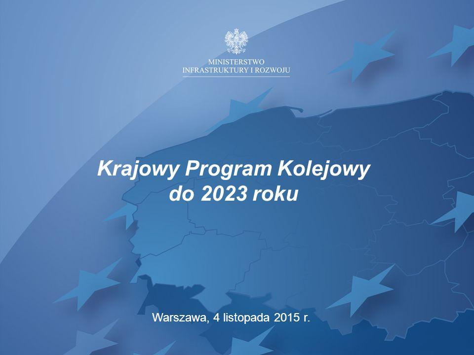 Krajowy Program Kolejowy do 2023 roku Warszawa, 4 listopada 2015 r.