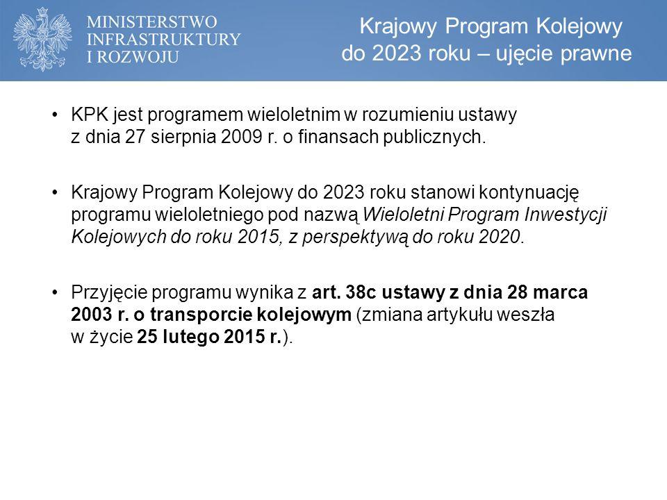 Dokument ustanawiający ramy finansowe oraz warunki realizacji zamierzeń państwa w zakresie inwestycji kolejowych przewidywanych do wykonania do 2023 roku.