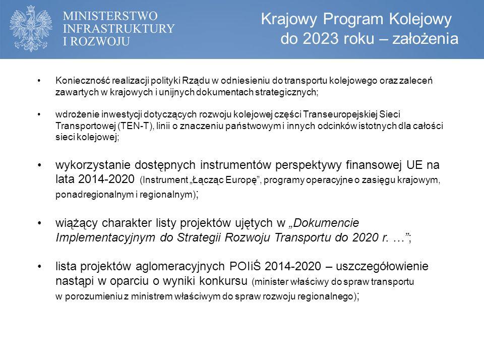 """Konieczność realizacji polityki Rządu w odniesieniu do transportu kolejowego oraz zaleceń zawartych w krajowych i unijnych dokumentach strategicznych; wdrożenie inwestycji dotyczących rozwoju kolejowej części Transeuropejskiej Sieci Transportowej (TEN-T), linii o znaczeniu państwowym i innych odcinków istotnych dla całości sieci kolejowej; wykorzystanie dostępnych instrumentów perspektywy finansowej UE na lata 2014-2020 (Instrument """"Łącząc Europę , programy operacyjne o zasięgu krajowym, ponadregionalnym i regionalnym) ; wiążący charakter listy projektów ujętych w """"Dokumencie Implementacyjnym do Strategii Rozwoju Transportu do 2020 r."""