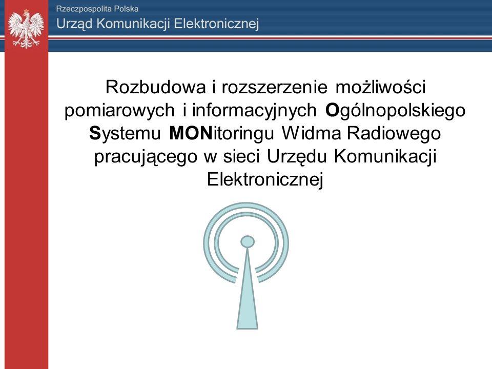 Cele szczegółowe Projektu Udostępnienie informacji o zasięgach nadajników radiowych i telewizyjnych, Udostępnienie informacji o zasięgach sieci telefonii komórkowej, Udostępnienie informacji o parametrach jakościowych sygnałów telefonii komórkowej, Udostępnienie wyników pomiarów widma radiowego, Zdalny odsłuch wybranych częstotliwości np.