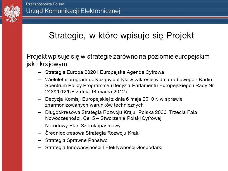 Strategie, w które wpisuje się Projekt Projekt wpisuje się w strategie zarówno na poziomie europejskim jak i krajowym: –Strategia Europa 2020 I Europejska Agenda Cyfrowa –Wieloletni program dotyczący polityki w zakresie widma radiowego - Radio Spectrum Policy Programme (Decyzja Parlamentu Europejskiego i Rady Nr 243/2012/UE z dnia 14 marca 2012 r.