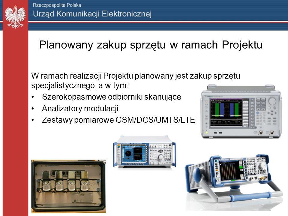 Planowany zakup sprzętu w ramach Projektu W ramach realizacji Projektu planowany jest zakup sprzętu specjalistycznego, a w tym: Szerokopasmowe odbiorniki skanujące Analizatory modulacji Zestawy pomiarowe GSM/DCS/UMTS/LTE