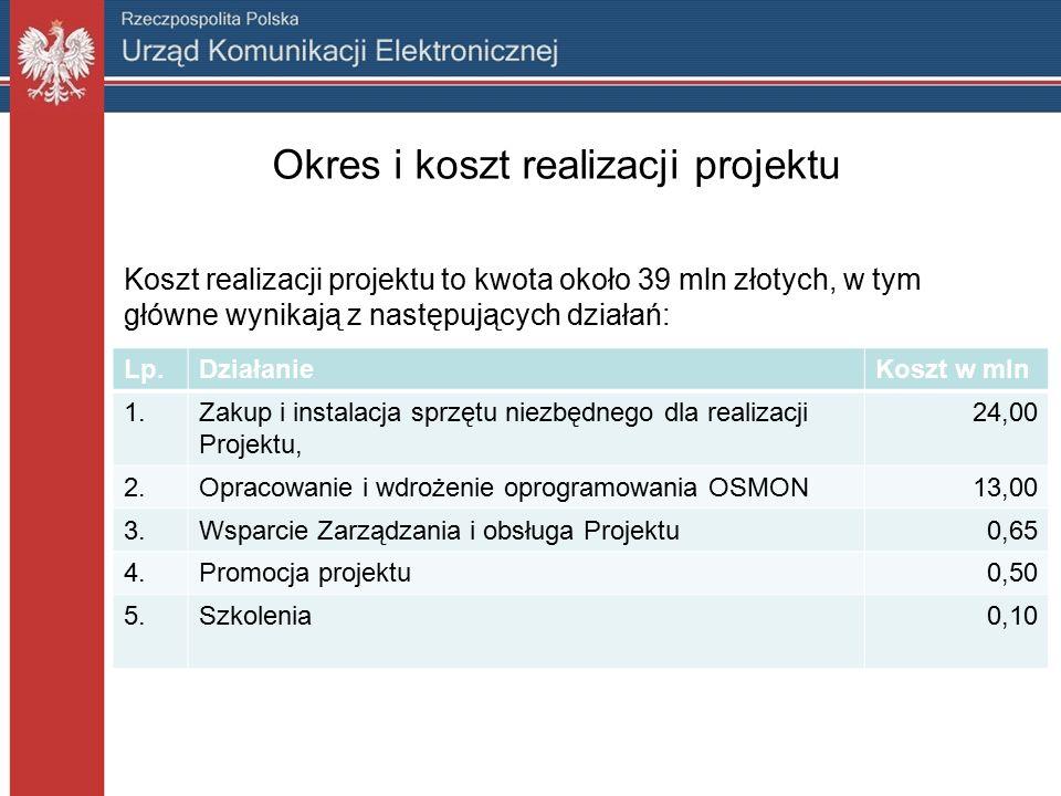 Przyczyna realizacji Projektu Decyzję o realizacji projektu OSMON podjęto w odpowiedzi na zidentyfikowane potrzeby.