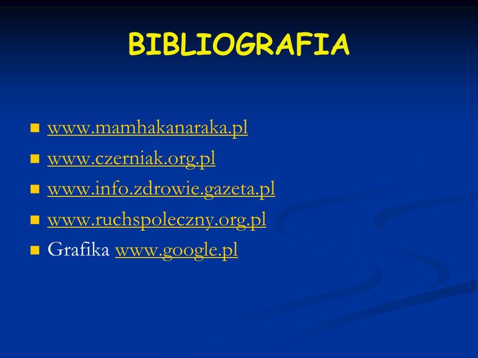 BIBLIOGRAFIA www.mamhakanaraka.pl www.czerniak.org.pl www.info.zdrowie.gazeta.pl www.ruchspoleczny.org.pl Grafika www.google.plwww.google.pl