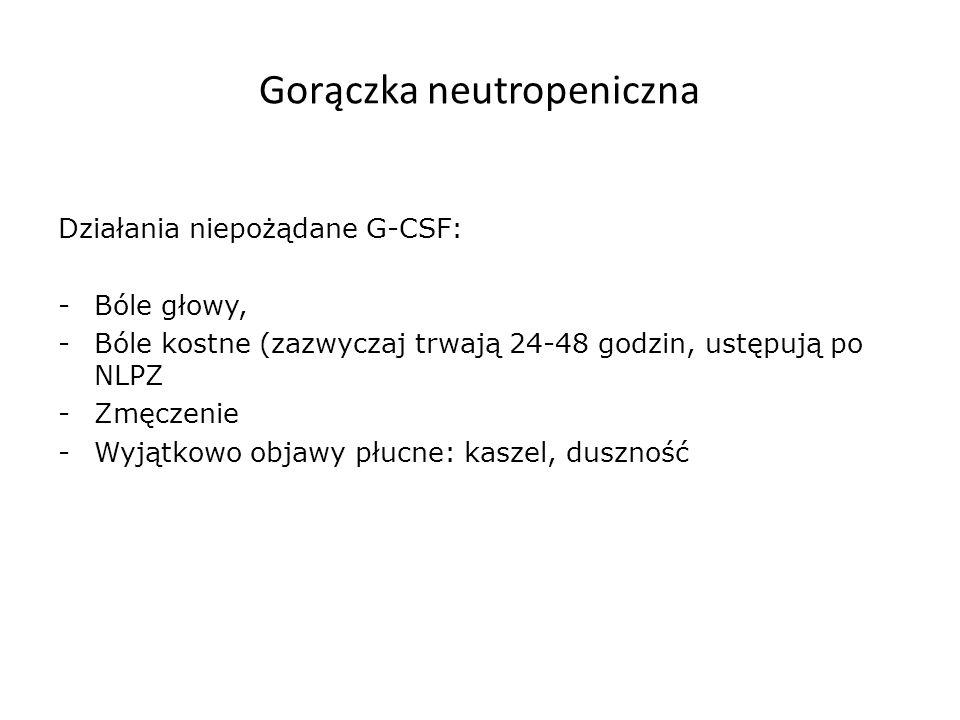Gorączka neutropeniczna Działania niepożądane G-CSF: -Bóle głowy, -Bóle kostne (zazwyczaj trwają 24-48 godzin, ustępują po NLPZ -Zmęczenie -Wyjątkowo objawy płucne: kaszel, duszność