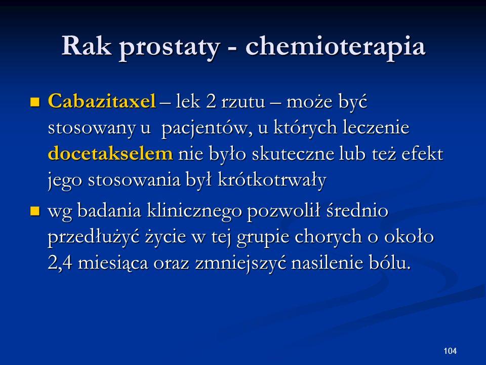 104 Rak prostaty - chemioterapia Cabazitaxel – lek 2 rzutu – może być stosowany u pacjentów, u których leczenie docetakselem nie było skuteczne lub te