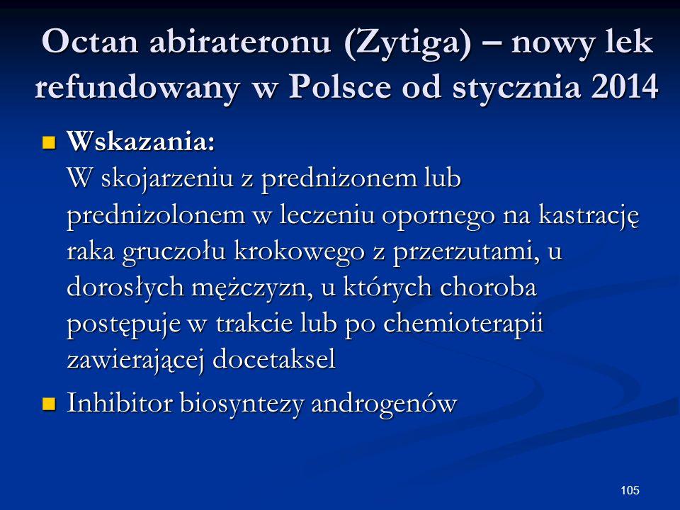 105 Octan abirateronu (Zytiga) – nowy lek refundowany w Polsce od stycznia 2014 Wskazania: W skojarzeniu z prednizonem lub prednizolonem w leczeniu op