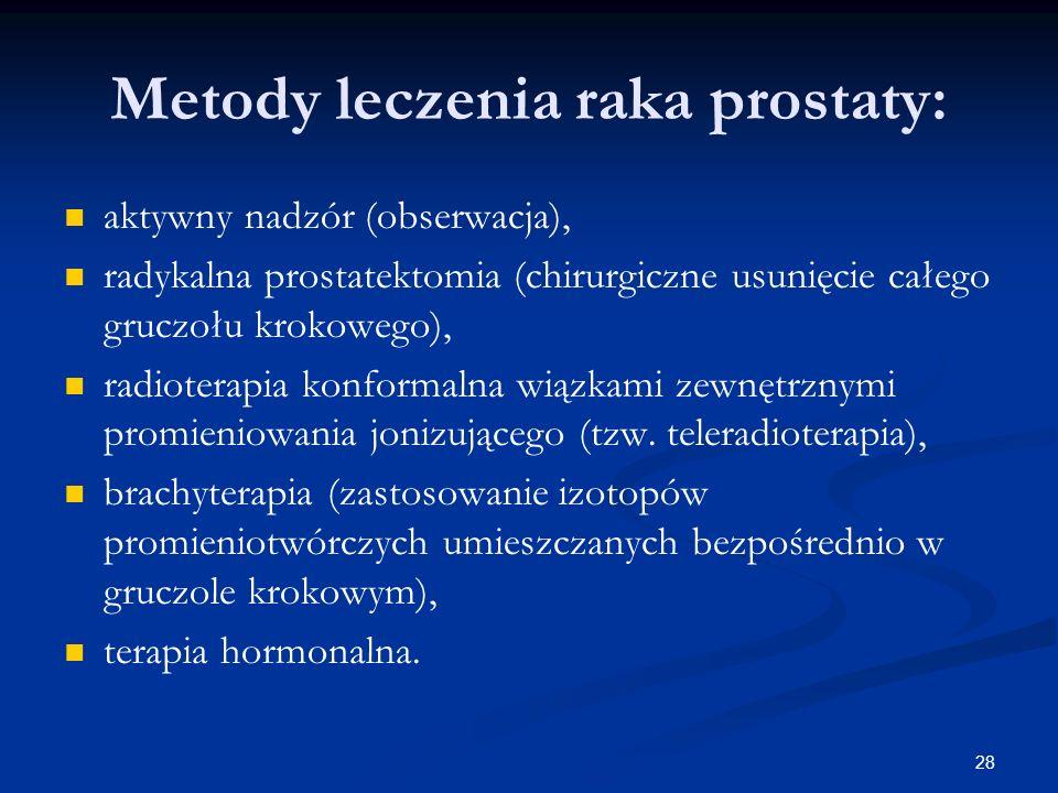 28 Metody leczenia raka prostaty: aktywny nadzór (obserwacja), radykalna prostatektomia (chirurgiczne usunięcie całego gruczołu krokowego), radioterap