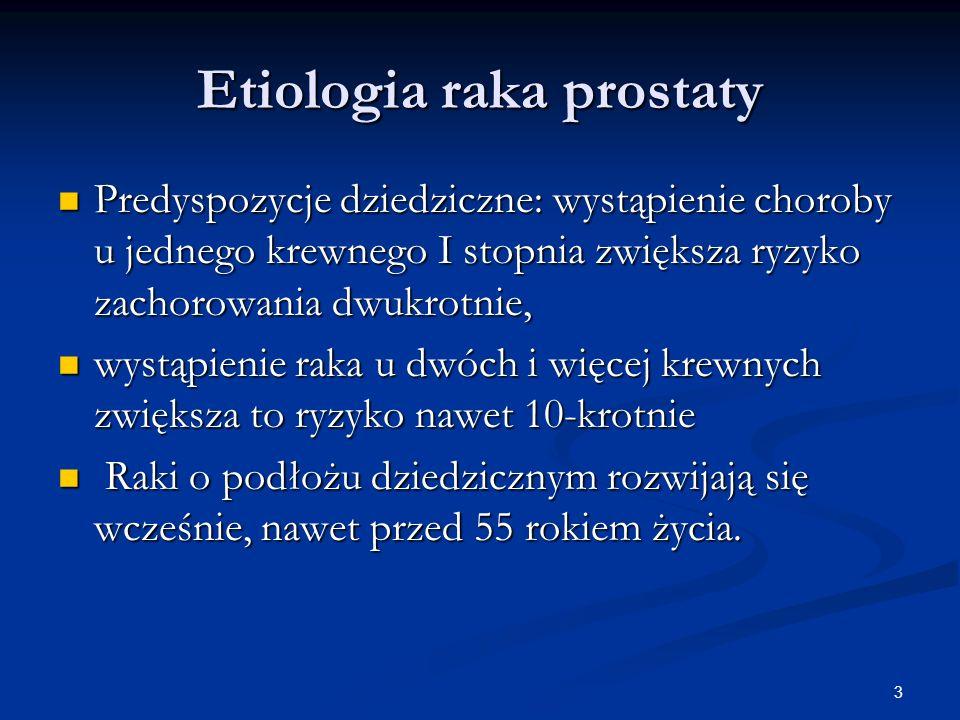 3 Etiologia raka prostaty Predyspozycje dziedziczne: wystąpienie choroby u jednego krewnego I stopnia zwiększa ryzyko zachorowania dwukrotnie, Predysp