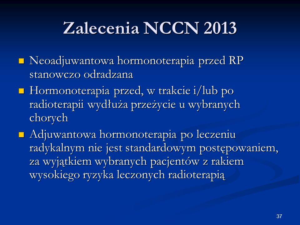 37 Zalecenia NCCN 2013 Neoadjuwantowa hormonoterapia przed RP stanowczo odradzana Neoadjuwantowa hormonoterapia przed RP stanowczo odradzana Hormonote