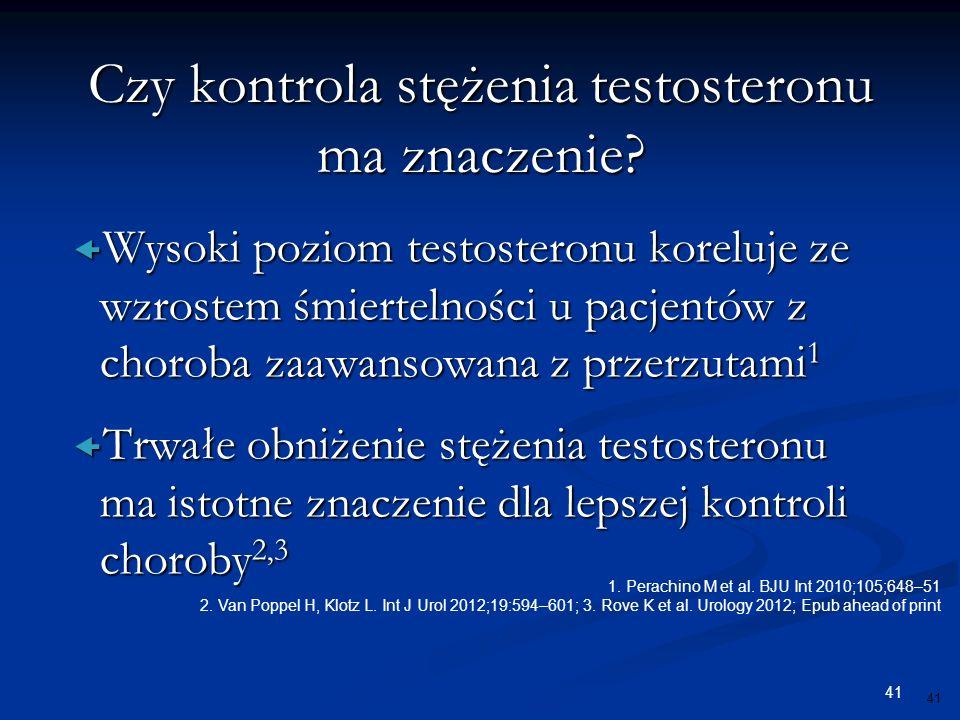 41  Wysoki poziom testosteronu koreluje ze wzrostem śmiertelności u pacjentów z choroba zaawansowana z przerzutami 1  Trwałe obniżenie stężenia test