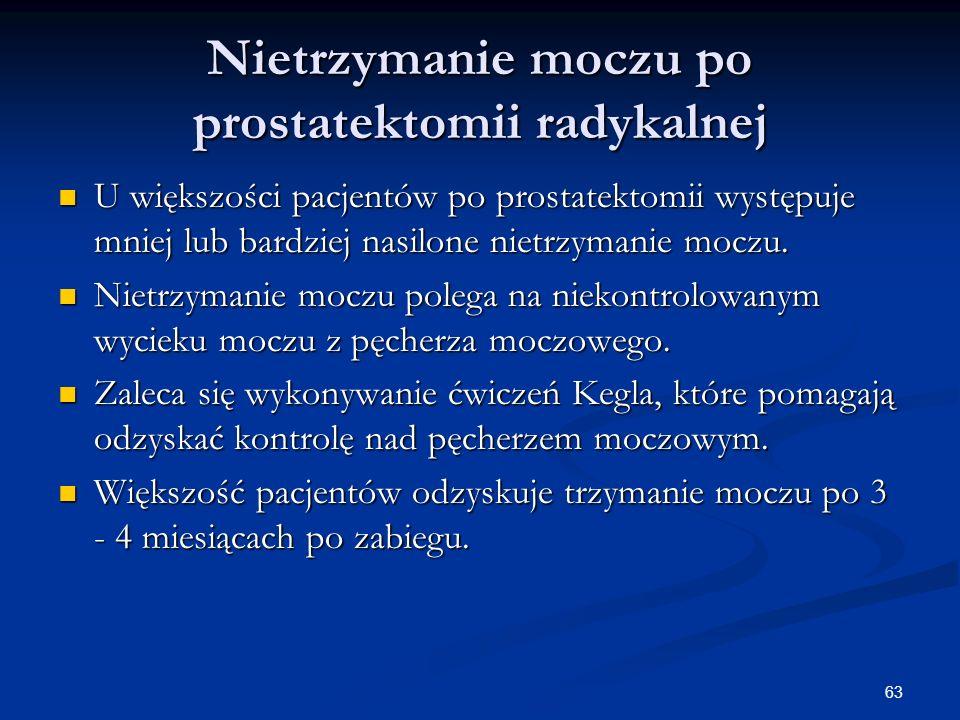 63 Nietrzymanie moczu po prostatektomii radykalnej U większości pacjentów po prostatektomii występuje mniej lub bardziej nasilone nietrzymanie moczu.