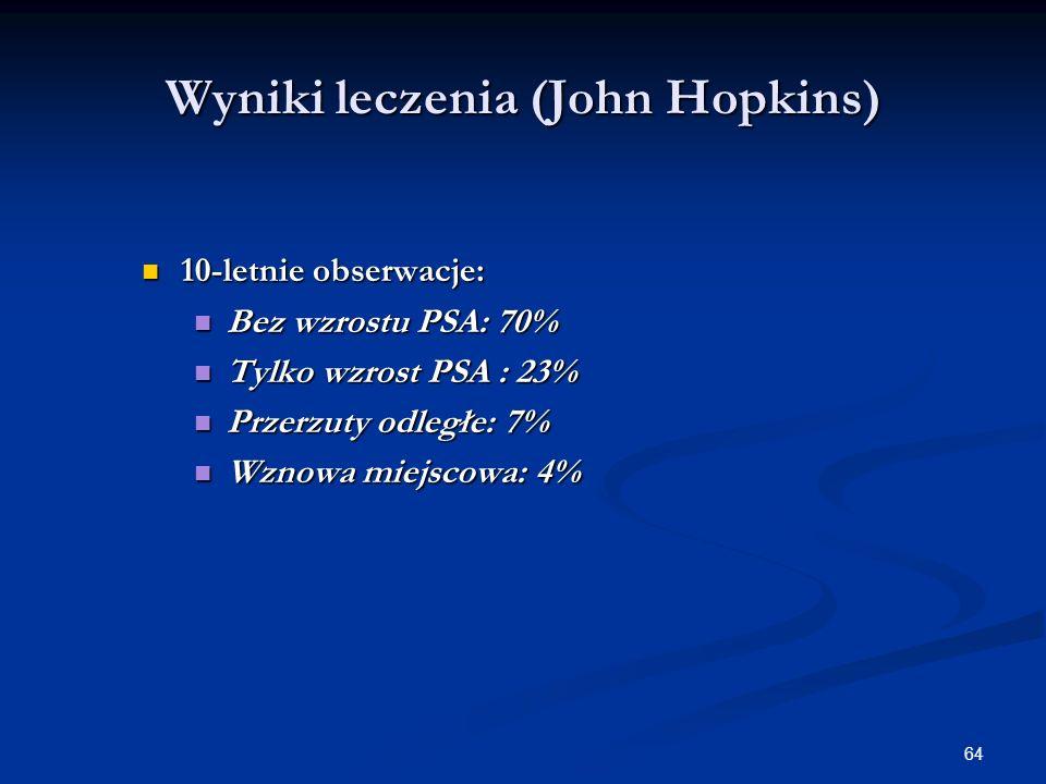 64 Wyniki leczenia (John Hopkins) 10-letnie obserwacje: 10-letnie obserwacje: Bez wzrostu PSA: 70% Bez wzrostu PSA: 70% Tylko wzrost PSA : 23% Tylko w