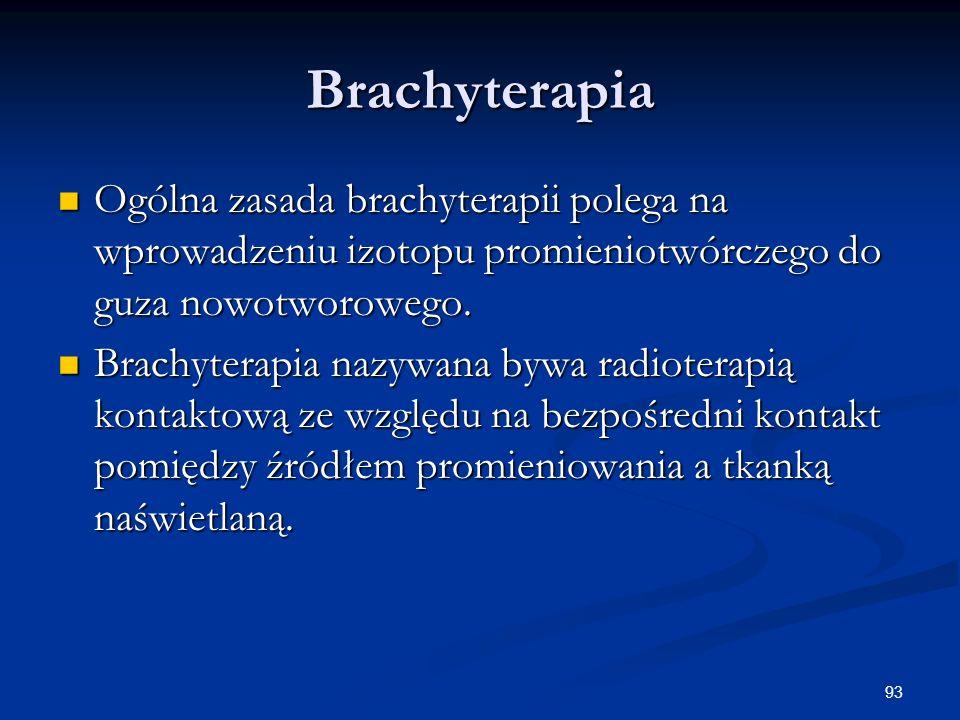 93 Brachyterapia Ogólna zasada brachyterapii polega na wprowadzeniu izotopu promieniotwórczego do guza nowotworowego. Ogólna zasada brachyterapii pole