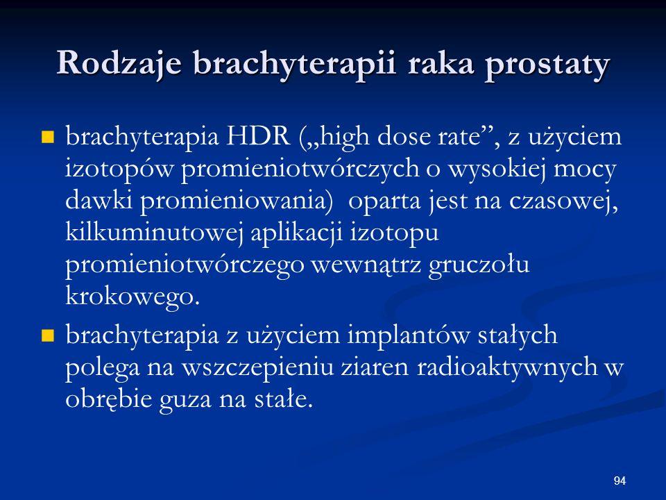 """94 Rodzaje brachyterapii raka prostaty brachyterapia HDR (""""high dose rate"""", z użyciem izotopów promieniotwórczych o wysokiej mocy dawki promieniowania"""