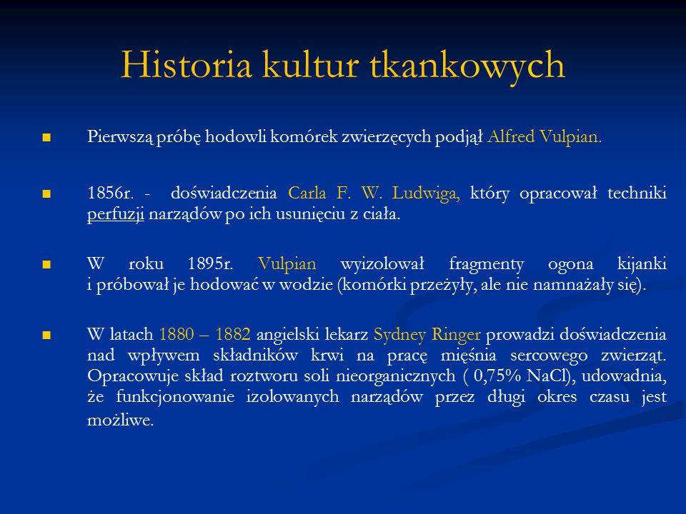 Historia kultur tkankowych Rok 1885 roku embriologowi niemieckiemu Wilhelmowi Roux udało się utrzymać w ogrzewanym roztworze soli płytkę nerwową uzyskaną z zarodka kurczaka.