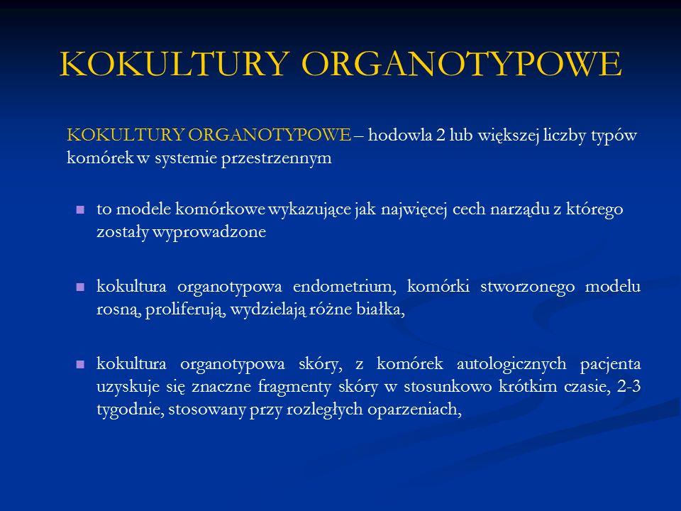 KOKULTURY ORGANOTYPOWE KOKULTURY ORGANOTYPOWE – hodowla 2 lub większej liczby typów komórek w systemie przestrzennym to modele komórkowe wykazujące ja