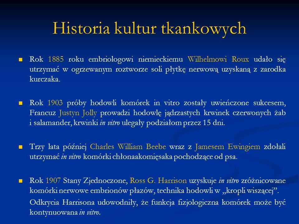 Historia kultur tkankowych Rok 1885 roku embriologowi niemieckiemu Wilhelmowi Roux udało się utrzymać w ogrzewanym roztworze soli płytkę nerwową uzysk