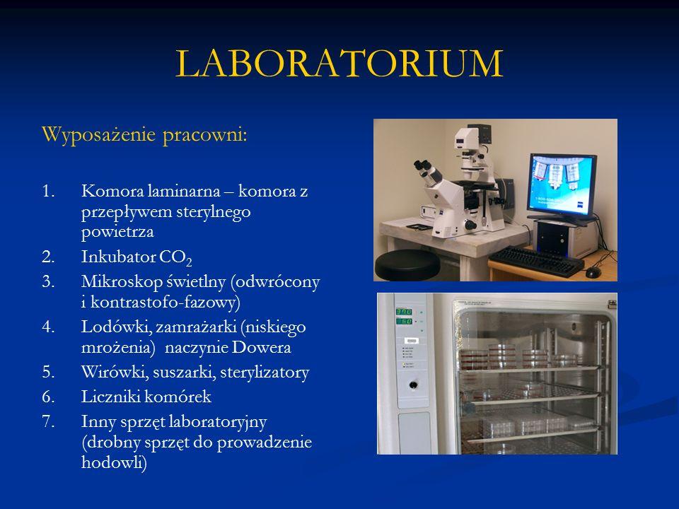 LABORATORIUM Wyposażenie pracowni: 1.Komora laminarna – komora z przepływem sterylnego powietrza 2.Inkubator CO 2 3.Mikroskop świetlny (odwrócony i ko
