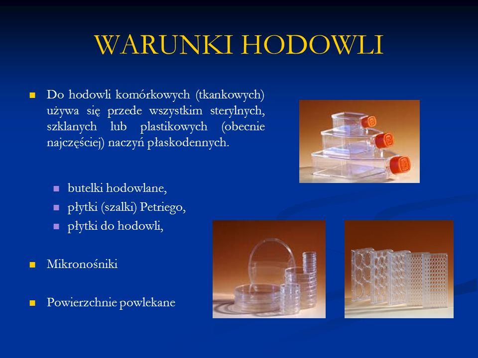 WARUNKI HODOWLI Do hodowli komórkowych (tkankowych) używa się przede wszystkim sterylnych, szklanych lub plastikowych (obecnie najczęściej) naczyń pła