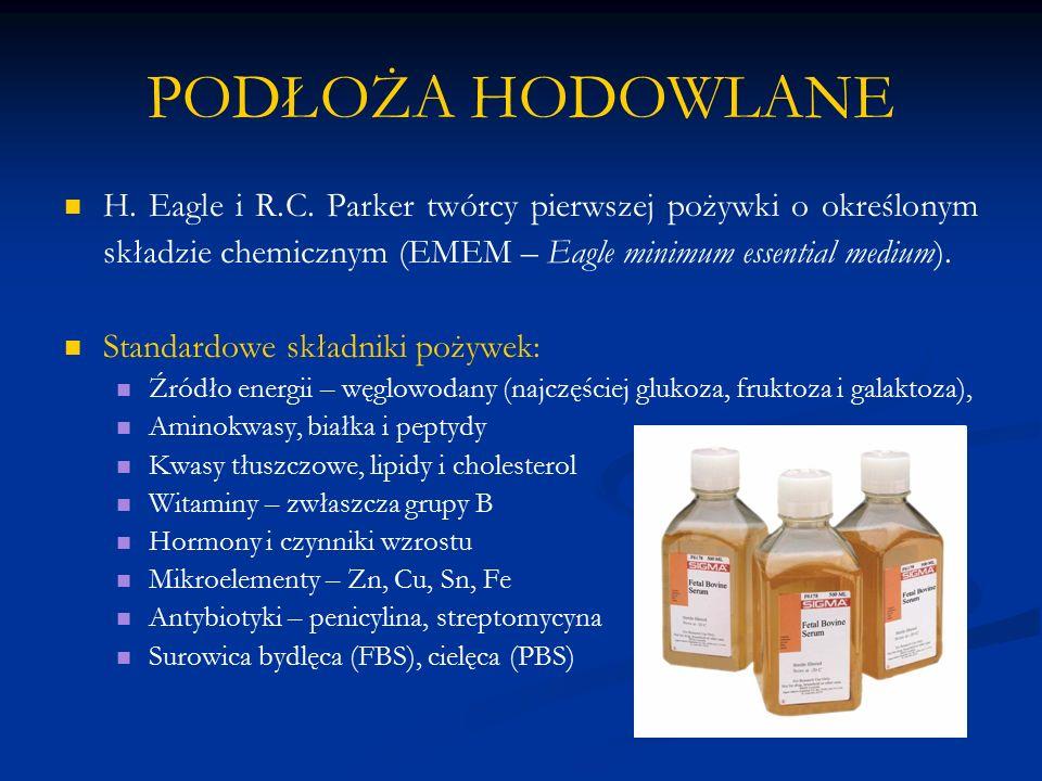 PODŁOŻA HODOWLANE H. Eagle i R.C. Parker twórcy pierwszej pożywki o określonym składzie chemicznym (EMEM – Eagle minimum essential medium). Standardow