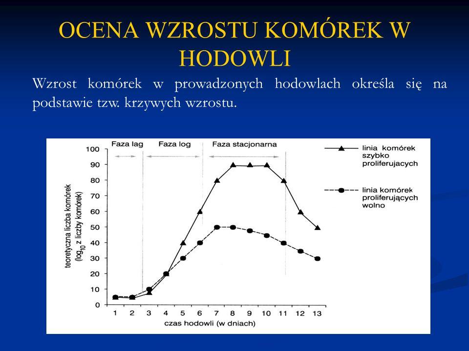 OCENA WZROSTU KOMÓREK W HODOWLI Wzrost komórek w prowadzonych hodowlach określa się na podstawie tzw. krzywych wzrostu.