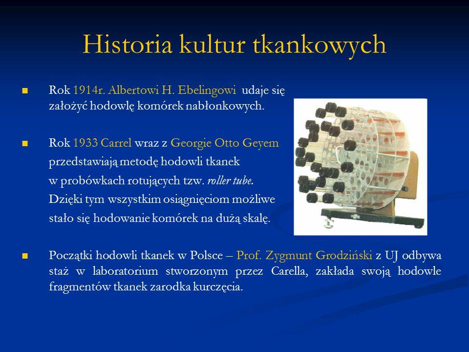 Historia kultur tkankowych Rok 1914r. Albertowi H. Ebelingowi udaje się założyć hodowlę komórek nabłonkowych. Rok 1933 Carrel wraz z Georgie Otto Geye