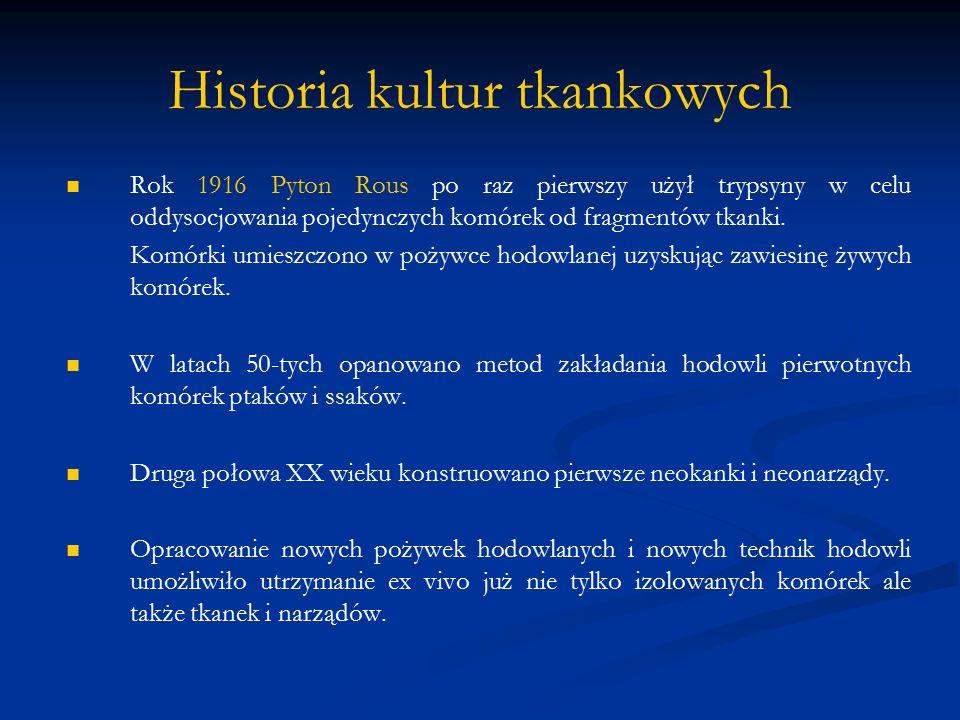 Historia kultur tkankowych Rok 1916 Pyton Rous po raz pierwszy użył trypsyny w celu oddysocjowania pojedynczych komórek od fragmentów tkanki. Komórki