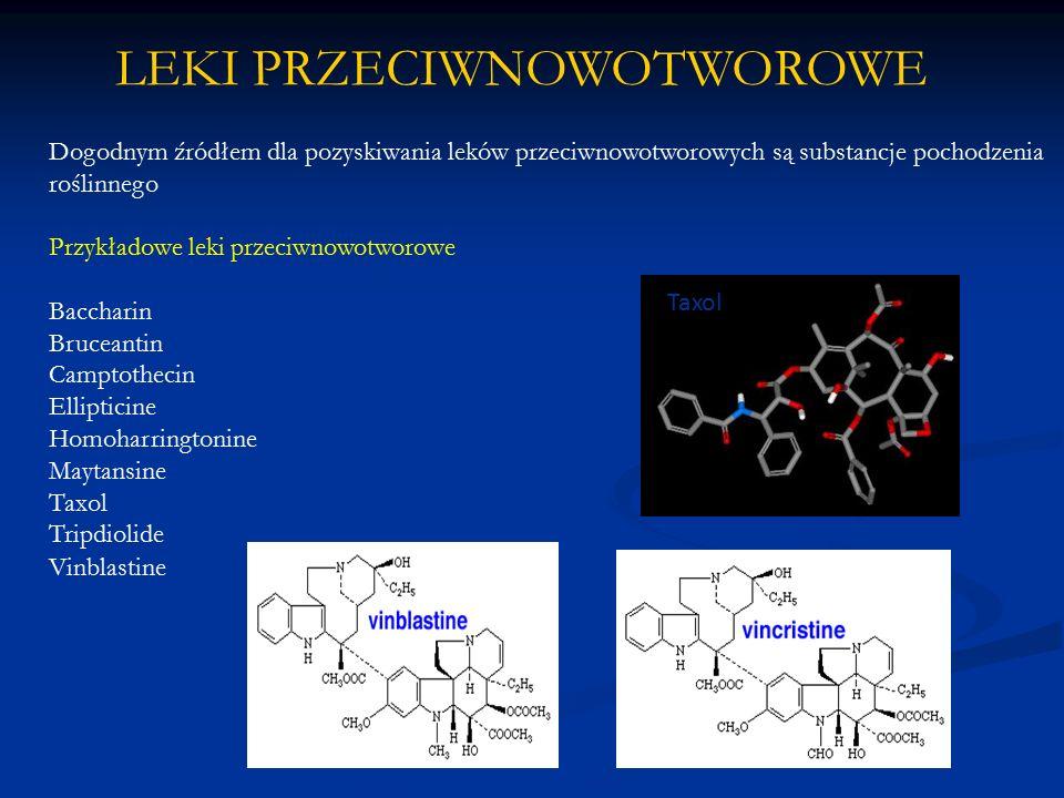 Dogodnym źródłem dla pozyskiwania leków przeciwnowotworowych są substancje pochodzenia roślinnego Przykładowe leki przeciwnowotworowe Baccharin Brucea