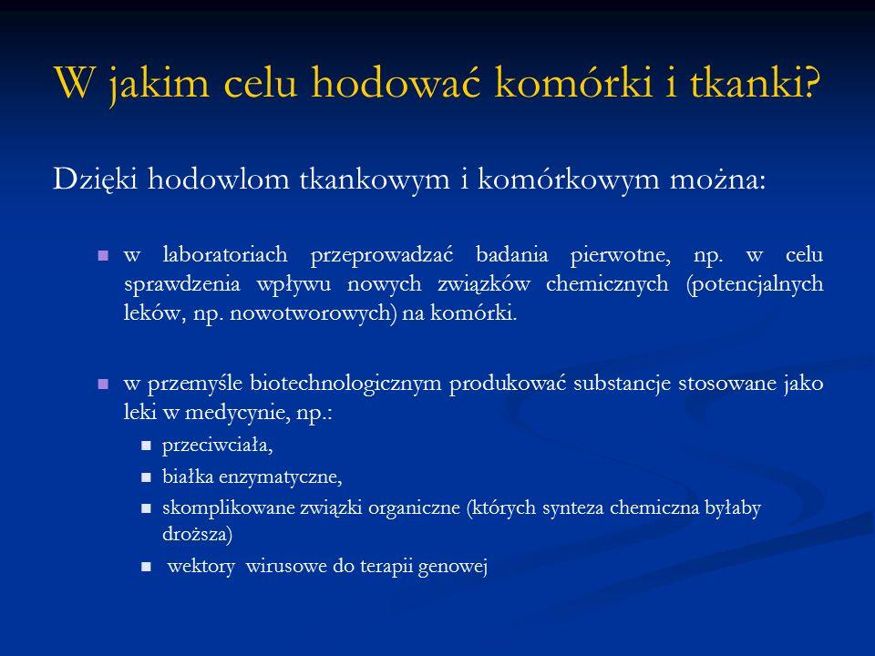 HODOWLA KOMÓREK I TKANEK Hodowla tkankowa = kultura tkankowa ( ang.