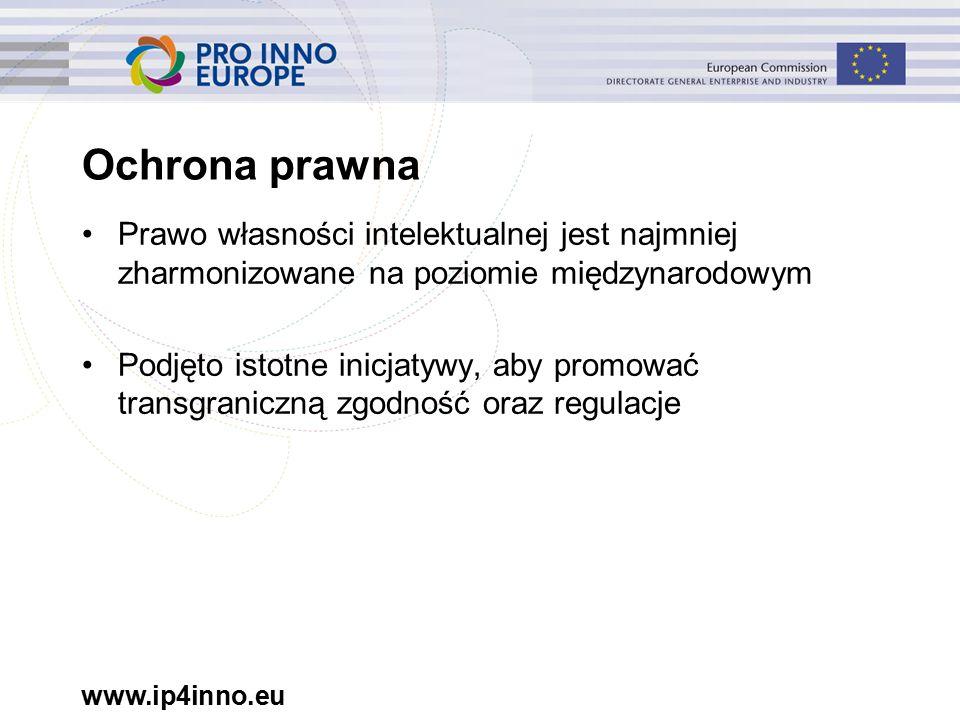www.ip4inno.eu Ochrona prawna Prawo własności intelektualnej jest najmniej zharmonizowane na poziomie międzynarodowym Podjęto istotne inicjatywy, aby promować transgraniczną zgodność oraz regulacje