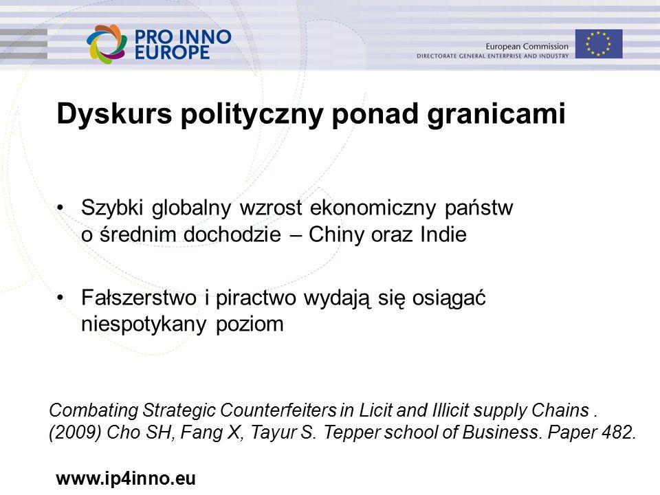 www.ip4inno.eu Dyskurs polityczny ponad granicami Szybki globalny wzrost ekonomiczny państw o średnim dochodzie – Chiny oraz Indie Fałszerstwo i piractwo wydają się osiągać niespotykany poziom Combating Strategic Counterfeiters in Licit and Illicit supply Chains.