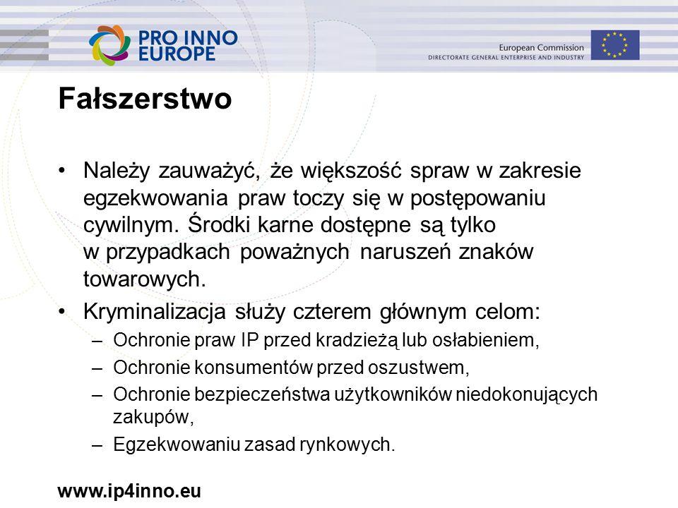 www.ip4inno.eu Fałszerstwo Należy zauważyć, że większość spraw w zakresie egzekwowania praw toczy się w postępowaniu cywilnym.