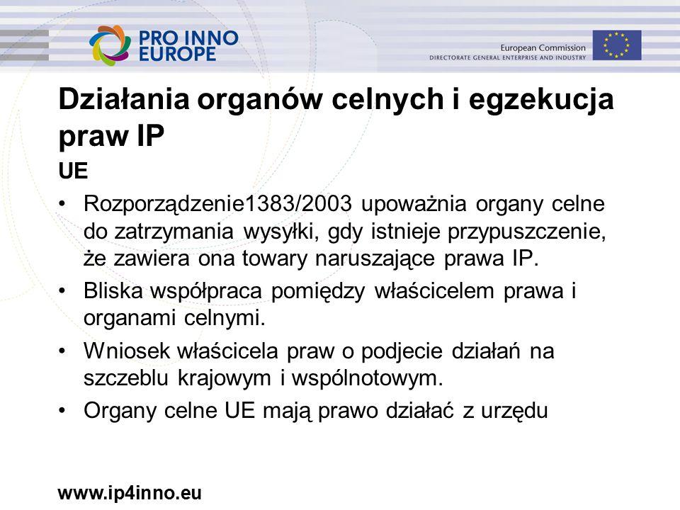 www.ip4inno.eu Działania organów celnych i egzekucja praw IP UE Rozporządzenie1383/2003 upoważnia organy celne do zatrzymania wysyłki, gdy istnieje przypuszczenie, że zawiera ona towary naruszające prawa IP.