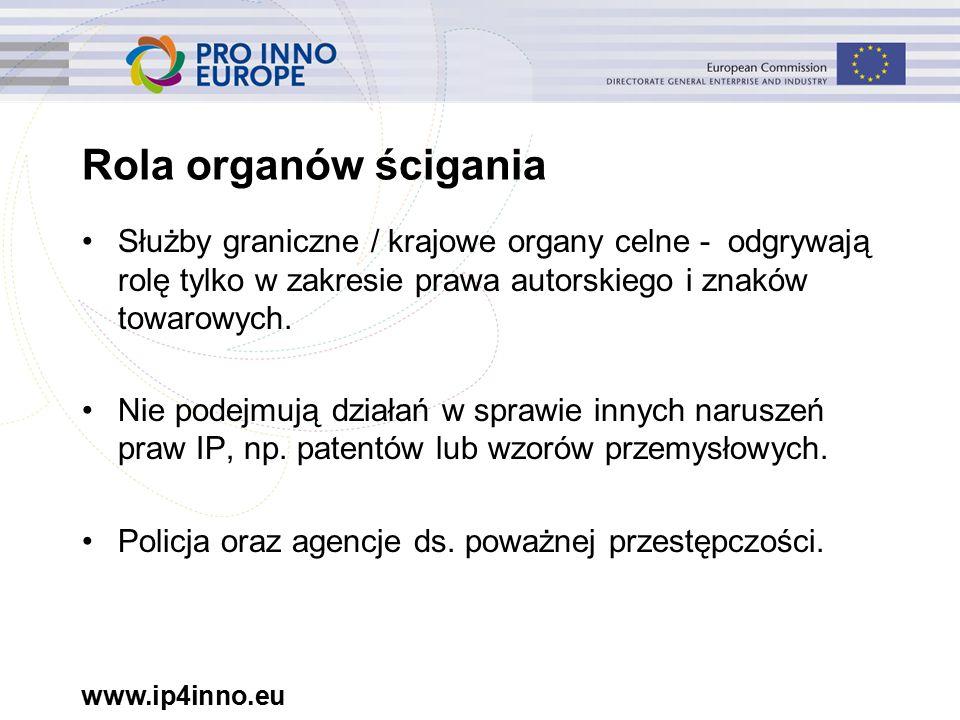 www.ip4inno.eu Rola organów ścigania Służby graniczne / krajowe organy celne - odgrywają rolę tylko w zakresie prawa autorskiego i znaków towarowych.