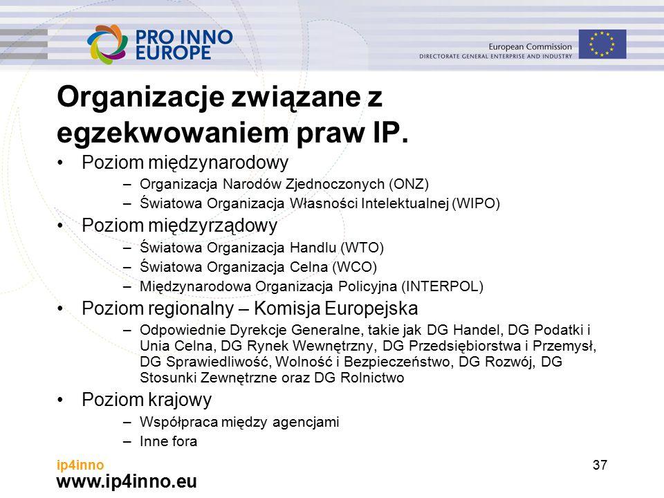 www.ip4inno.eu ip4inno37 Organizacje związane z egzekwowaniem praw IP.