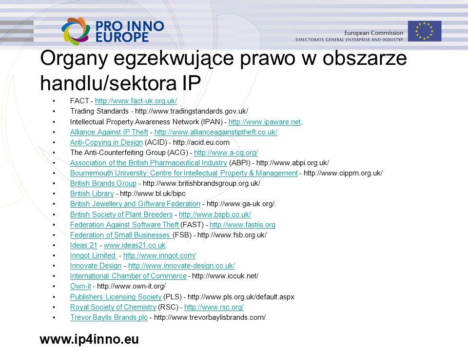 www.ip4inno.eu Organy egzekwujące prawo w obszarze handlu/sektora IP FACT - http://www.fact-uk.org.uk/http://www.fact-uk.org.uk/ Trading Standards - http://www.tradingstandards.gov.uk/ Intellectual Property Awareness Network (IPAN) - http://www.ipaware.net.http://www.ipaware.net Alliance Against IP Theft - http://www.allianceagainstiptheft.co.uk/Alliance Against IP Thefthttp://www.allianceagainstiptheft.co.uk/ Anti-Copying in Design (ACID) - http://acid.eu.comAnti-Copying in Design The Anti-Counterfeiting Group (ACG) - http://www.a-cg.org/http://www.a-cg.org/ Association of the British Pharmaceutical Industry (ABPI) - http://www.abpi.org.uk/Association of the British Pharmaceutical Industry Bournemouth University: Centre for Intellectual Property & Management - http://www.cippm.org.uk/Bournemouth University: Centre for Intellectual Property & Management British Brands Group - http://www.britishbrandsgroup.org.uk/British Brands Group British Library - http://www.bl.uk/bipcBritish Library British Jewellery and Giftware Federation - http://www.ga-uk.org/.British Jewellery and Giftware Federation British Society of Plant Breeders - http://www.bspb.co.uk/British Society of Plant Breedershttp://www.bspb.co.uk/ Federation Against Software Theft (FAST) - http://www.fastiis.orgFederation Against Software Theft http://www.fastiis.org Federation of Small Businesses (FSB) - http://www.fsb.org.uk/Federation of Small Businesses Ideas 21 - www.ideas21.co.ukIdeas 21www.ideas21.co.uk Inngot Limited - http://www.inngot.com/Inngot Limited http://www.inngot.com/ Innovate Design - http://www.innovate-design.co.uk/Innovate Designhttp://www.innovate-design.co.uk/ International Chamber of Commerce - http://www.iccuk.net/International Chamber of Commerce Own-it - http://www.own-it.org/Own-it Publishers Licensing Society (PLS) - http://www.pls.org.uk/default.aspxPublishers Licensing Society Royal Society of Chemistry (RSC) - http://www.rsc.org/Royal Society of Chemistryhttp://www.rsc.org/ Tr