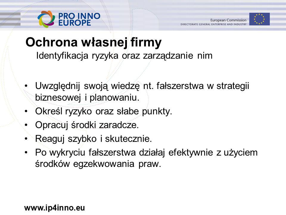 www.ip4inno.eu Ochrona własnej firmy Identyfikacja ryzyka oraz zarządzanie nim Uwzględnij swoją wiedzę nt.