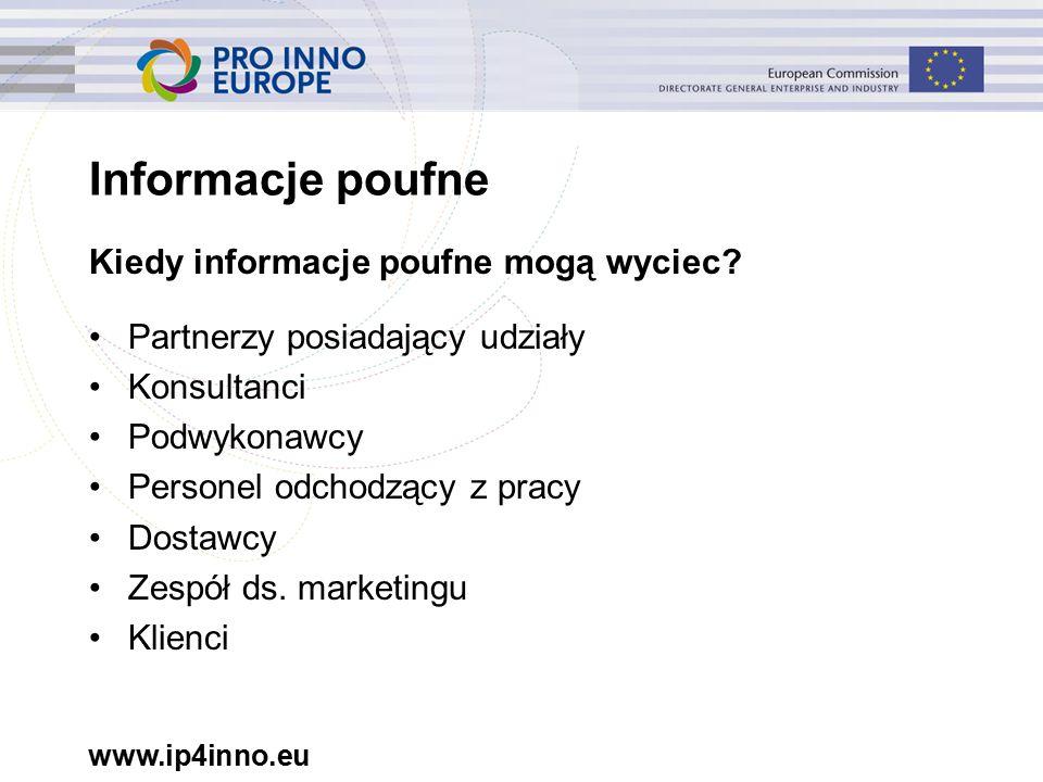 www.ip4inno.eu Kiedy informacje poufne mogą wyciec.
